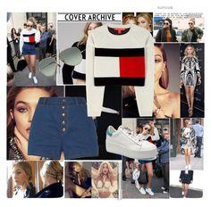 """GIGI HADID"" by jona-zaloznik ❤ liked on Polyvore featuring Ray-Ban, rag & bone, DVF, Victoria's Secret and Tommy Hilfiger"