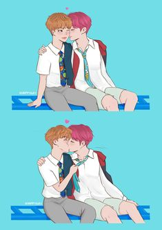 Please, do not repost my art Taehyung, Jimin Jungkook, Vmin, Foto Bts, Jikook Manga, K Pop, Vkook Fanart, Cute Couple Art, Kpop Drawings