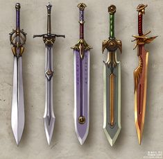 different swords destined for the warriors. Each holds its own power. Cosplay Weapons, Anime Weapons, Fantasy Sword, Fantasy Weapons, Swords And Daggers, Knives And Swords, Cool Swords, Sword Design, Medieval Weapons