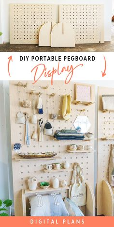 DIY Portable Pegboard Display Shelves - minimal cost - easy to carry - adjustable shelving - configurable walls Pegboard Display, Pegboard Craft Room, Pegboard Storage, Kitchen Pegboard, Display Shelves, Ikea Pegboard, Painted Pegboard, Craft Rooms, Garage Tool Storage