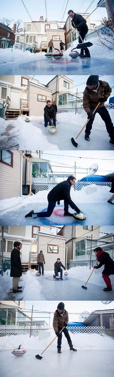 #DIY Your very own backyard miniature curling rink.