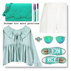 """""""Mint Style"""" by simona-altobelli ❤ liked on Polyvore featuring Elie Saab, Converse, Karl Lagerfeld, tarte, StreetStyle, MyStyle, mint and sneakers"""
