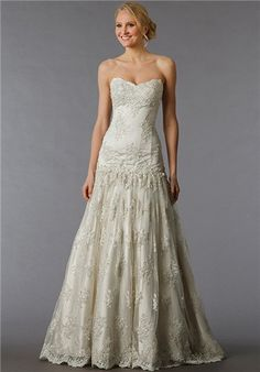 Off White, sweetheart tulle and beaded lace A-line