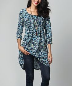 Another great find on #zulily! Blue Floral Pin-Tuck Empire-Waist Tunic by Reborn Collection #zulilyfinds