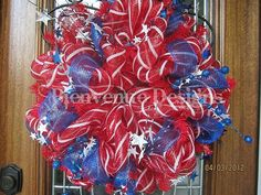 Red, White and Blue Patriotic Deco Poly Mesh Wreath