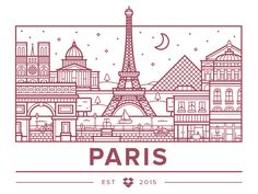 Dropbox recently opened an office in Paris, which meant I finally got to try my hand at one of these nifty city illustrations. It was fun, maybe I'll do more in the future. Paris Illustration, Travel Illustration, Graphic Design Illustration, Graphic Art, Medical Illustration, Line Art, Little Paris, Buch Design, Line Design