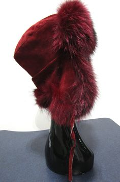 2d0285a03b4 New Burgundy Dyed Silver Fox   Suede Trapper Hat