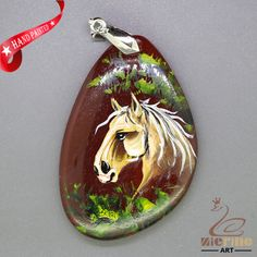 CREATIVE NECKLACE HAND PAINTED HORSE GEMSTONE PENDANT BEAD ZL8010445 #ZL #Pendant