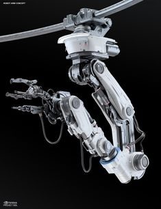 Robot Arm for Assembling scene, Gregor Kopka Industrial Robotic Arm, Industrial Robots, Industrial Machinery, Mechanical Arm, Mechanical Design, Futuristic Art, Futuristic Technology, Arm Technology, Technology Gadgets