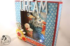 A look at the great dimension of Denise Hahn's altered Mother Goose shadowbox Mother Goose, Frame Display, Graphic 45, Dollhouses, Shadow Box, Minis, Floral Design, Gallery Wall, Stripes