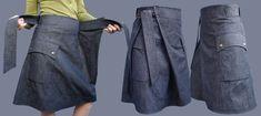Materiales gráficos Gaby: Falda en jeans muy original con moldería para confeccionarla