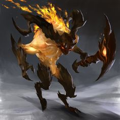 FIre elementals - concept art, Thiago Almeida on ArtStation at https://www.artstation.com/artwork/emna6