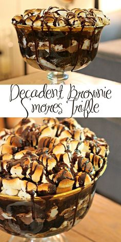Decadent Brownie S& Trifle Jump to Recipe·Print Recipe This shop has been compensated by Collective Bias, Inc. and its advertiser. All opinions are mine alone. Decadent Brownie S'mores Trifle It's been a hectic few weeks and I've honestly been in a bit. Trifle Bowl Recipes, Trifle Desserts, Trifle Recipe, No Bake Desserts, Easy Desserts, Delicious Desserts, Dessert Recipes, Yummy Food, Chef Recipes