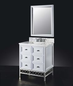 """The Raines 30"""" vanity in high-gloss white features with two drawers and two doors, and polished nickel base. Carrara marble countertop and vitreous china basin are options.    #LuxePintoWin"""