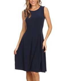 Look what I found on #zulily! Navy Fit & Flare Dress - Plus Too #zulilyfinds
