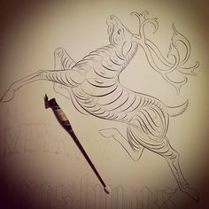 calligraphy deer