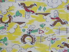 Fabulous Vintage Feedsack Childrens Novelty Cowboy Fabric Pillowcase | Vintageblessings