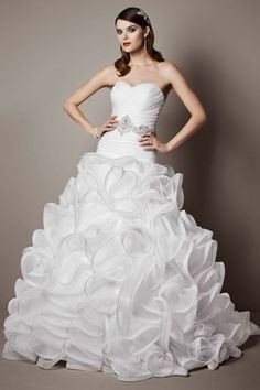 Featuring a gracefully ruffled organza ball gown skirt and pleated, drop-waist bodice, this strapless organza wedding dress really makes a statement. The look is completed with a glamorous beaded wais Galina Wedding Dress, Wedding Dress Sizes, Bridal Gowns, Wedding Gowns, Wedding Venues, Wedding Gown Gallery, Celebrity Look Alike, Wedding Dress Preservation, Strapless Organza