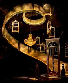 Sense and Sensibility (Chicago Shakespeare Theatre) Set Design by Kevin Depinet -- I love the burry, spotted yellow lights following up the stairs, makes it seem mystical and enlightening