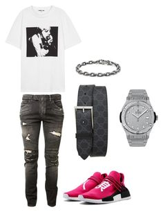 """""""Untitled #346"""" by aintdatjulian on Polyvore featuring McQ by Alexander McQueen, Balmain, Gucci, Hublot, David Yurman, men's fashion and menswear"""