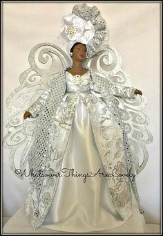 Christmas Angel African American Angel Silver Christmas Tree Topper for your Holiday Decor  20 inches tall perfect for a mantle or entry table.