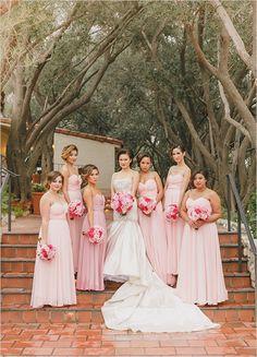 long pink bridesmaid dresses @weddingchicks