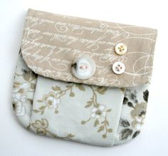 Small Pleated Pouch Wallet Snap Closure Beige by andreacreates, $16.00
