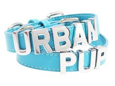 Blue Leather Personalised Dog Collar (Chrome Letters) | Dog Collar & Lead Sets at UrbanPup.com