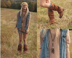 Top, Denim Vest, Boots (Diy), Feather Neckless, Nudie Jeans Denim Shorts (Diy)