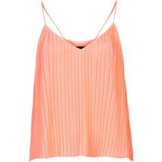 TOPSHOP Strappy Pleat Cami (29 CHF) ❤ liked on Polyvore featuring tops, shirts, tanks, tank tops, topshop, coral, strappy cami, red camisole and red cami