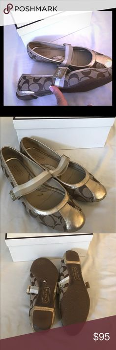 🎊authentic Coach flats gold and tan🎊 Euc coach gold and tan flats Coach Shoes Flats & Loafers