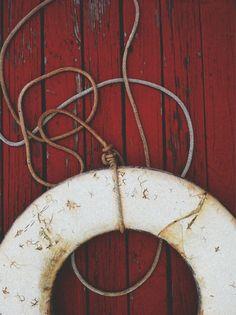 white on red. ⚓the coastal agrarian Vintage Nautical, Nautical Theme, Plastic Beach, Life Preserver, House By The Sea, Nautical Fashion, May Flowers, Outdoor Art, Coastal Homes
