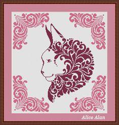 Cross Stitch Pattern Ornamental head Сat vintage by HallStitch