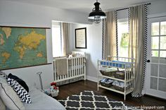Love the vintage and modern combination in this boy's nursery.