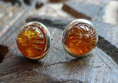 Simple sterling silver earrings with amber stones. $55.00, via Etsy.