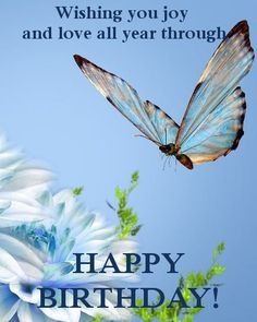Cute e birthday card with a butterfly on a flowers