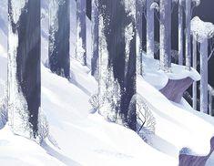 trees forest winter snow landscape concept art illustration