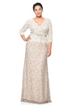 Lace ¾ Sleeve V-Neck Gown with Grosgrain Ribbon Belt - PLUS SIZE | Tadashi Shoji