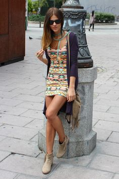 colorful Aztec dress | neutral cardigan and shoes in charcoal and camel
