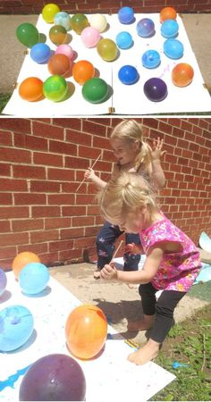 Fun & creative ways for kids to paint with balloons. #balloons #balloonpainting #balloonpoppainting #paintfilledballoons #balloonactivitiesforkids #growingajeweledrose Art Activities For Toddlers, Painting Activities, Educational Activities For Kids, Summer Activities For Kids, Summer Kids, Preschool Activities, Crafts For Kids, Balloon Painting, Easy Art Projects