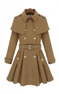 Camel Double Breasted Cape Collar Skirt Hem Woolen Coat