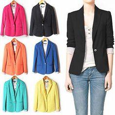 Blue - Size Small - 6Colors Women's/lady Fashion Candy Color Basic Slim Foldable Suit Jacket Blazer