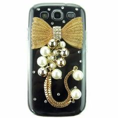 Amazon.com: 3d Hand Made Crystal Golden Bow Bling Pearls Transparent Back Hard Case Cover Shell for Samsung Galaxy S3 I9300: Cell Phones & Accessories