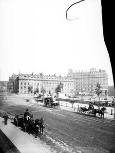 Morely's Hotel, Trafalgar Square, c 1885. Site of the Golden Cross coaching inn, recorded by Dickens in Great Expectations. Now South Africa House