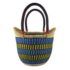 Exclusive Roots Blue & Yellow Ghana Basket : Blue & yellow Ghana basket. Renowned for high quality and excellent weaving skills the Baba Tree Basket Company specializes in supplying unique, hand woven African baskets. This gorgeous basket would be great for shopping, carrying groceries, or it could be used as a stylish storage basket.