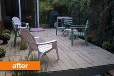 Before & After: A Bunch of Old Pallets Gain Purpose. Pallets made in to deck for cheap from Apt. Old Pallets, Recycled Pallets, Wooden Pallets, Pallet Wood, Outdoor Furniture Plans, Wood Pallet Furniture, Furniture Ideas, Playhouse Furniture, Industrial Furniture