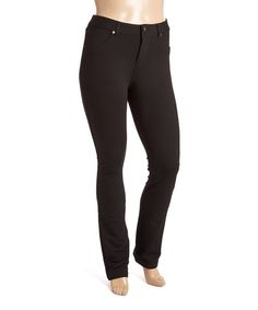 Poplooks Black Band-Waist French Terry Leggings - Plus | zulily