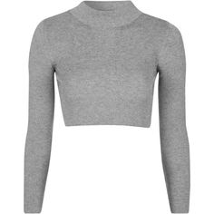 TOPSHOP PETITE Funnel Neck Ribbed Crop Top ($40) ❤ liked on Polyvore featuring tops, crop tops, shirts, tops crop, grey, petite, crop shirts, grey crop top, gray shirt and crop top