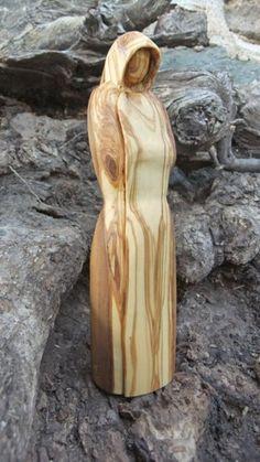 Spiritual Hooded sculpted figure hand carved olive wood | ellenisworkshop - Woodworking on ArtFire