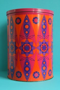 XXL Vintage Tomado Tin Container with abstract flower decor  Retro 1906s - 1970s Holland